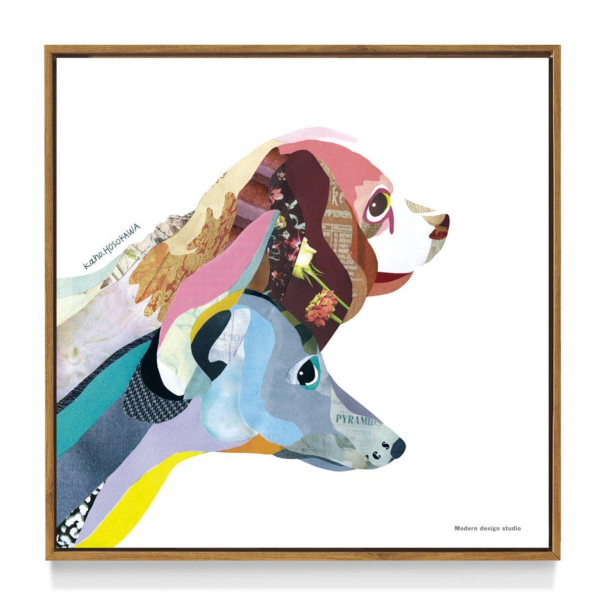 アートフレーム エヌディーコンセプトフレーム カホ ホソカワ ドッグ(犬)/インテリア 壁掛け 額入り 額装込 風景画 油絵 ポスター アート アートパネル リビング 玄関 プレゼント モダン アートフレーム おしゃれ 飾る LLサイズ