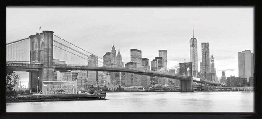 キャンバスフレーム アートフレーム ブルックリン ブリッジ/インテリア 壁掛け 額入り 額装込 風景画 油絵 ポスター アート アートパネル リビング 玄関 プレゼント モダン アートフレーム おしゃれ 飾る 4Lサイズ