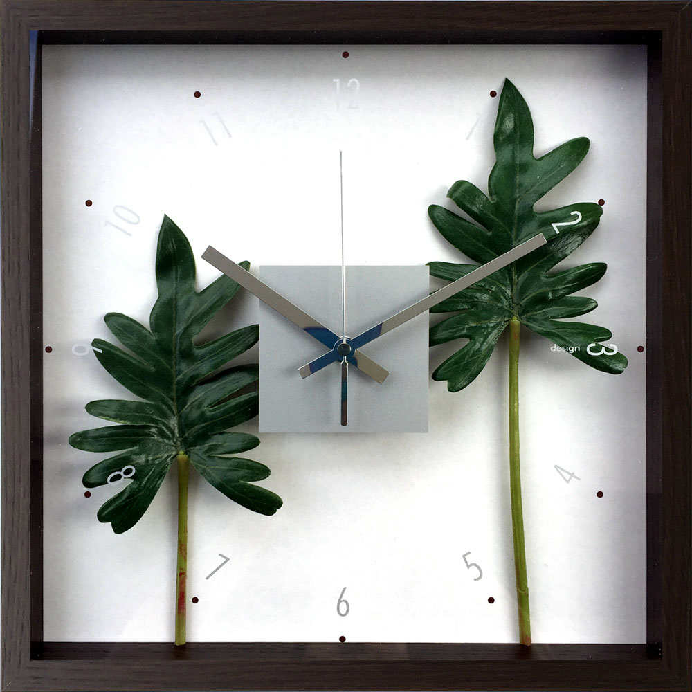 掛け時計 F-style クロック フィロデンドロン クッカバラ/額入り 絵画 絵 壁掛け アート リビング 玄関 トイレ インテリア かわいい 壁飾り 癒やし プレゼント ギフト アートパネル ポスター アートフレーム おしゃれ Mサイズ