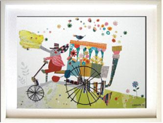 アートフレーム Colobockle ぞうの花車/インテリア 壁掛け 額入り 額装込 風景画 油絵 ポスター アート アートパネル リビング 玄関 プレゼント モダン アートフレーム おしゃれ 飾る LLサイズ 巣ごもり