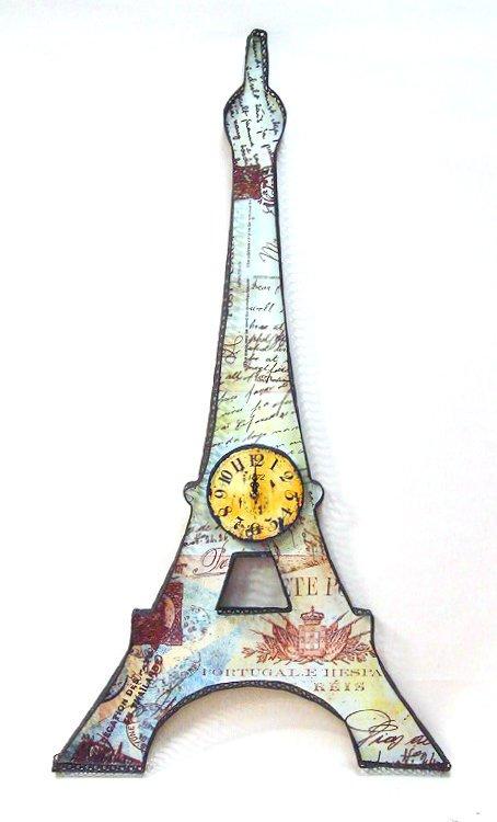 時計 アンティーク調、カントリー調 壁掛け時計 エッフェル塔/インテリア 壁掛け アート アートパネル リビング 玄関 プレゼント モダン 絵画 おしゃれ 飾る シンプル モダン アジアン アンティーク 4Lサイズ
