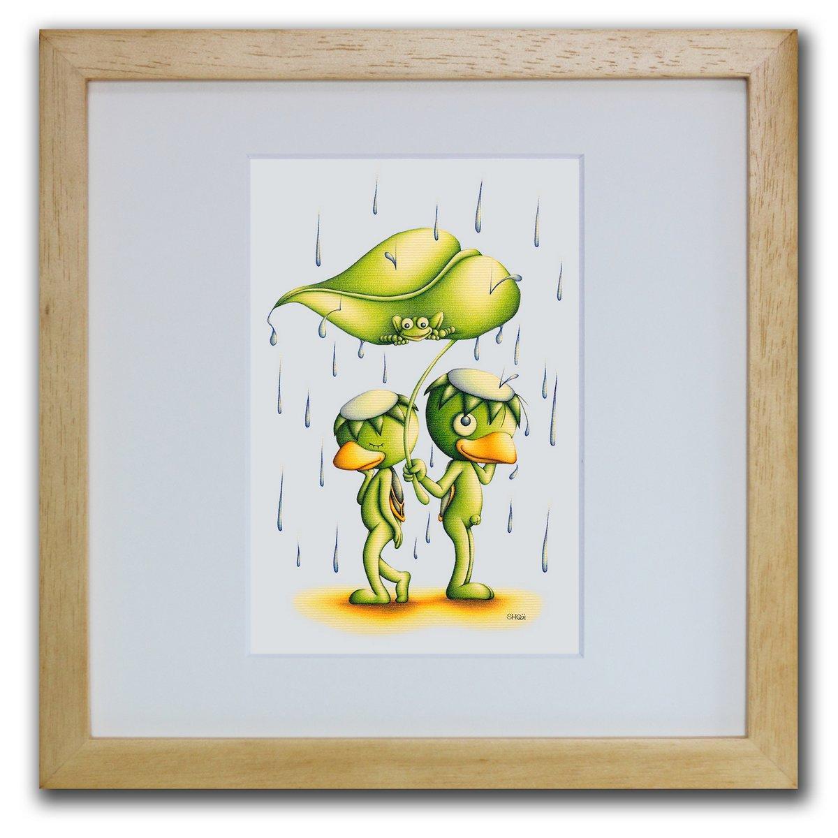 壁掛けアートは リビングや玄関におすすめのインテリア 絵画といえばルノワール ゴッホのひまわりといった名画が有名 かわいい壁飾りはお部屋を癒やしてくれそう プレゼントにも 色鉛筆画 版画 ゆうパケット 幸福の雨 SHOji インテリア 壁掛け 額入り 額装込 アートフレーム リビング モダン 巣ごもり ポスター おしゃれ 玄関 油絵 新色 風景画 Sサイズ ☆送料無料☆ 当日発送可能 アートパネル 飾る プレゼント アート