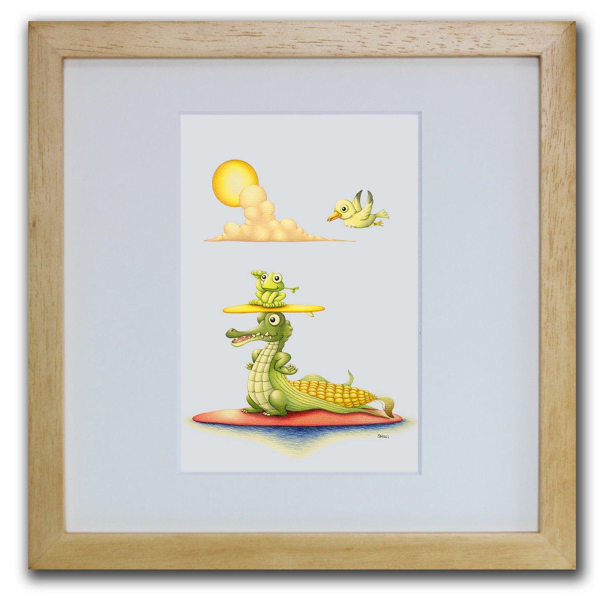 壁掛けアートは、リビングや玄関におすすめのインテリア。絵画といえばルノワール、ゴッホのひまわりといった名画が有名。かわいい壁飾りはお部屋を癒やしてくれそう。プレゼントにも 色鉛筆画・版画 ゆうパケット もろこし・ワニ SHOji/インテリア 壁掛け 額入り 額装込 風景画 油絵 ポスター アート アートパネル リビング 玄関 プレゼント モダン アートフレーム おしゃれ 飾る Sサイズ 巣ごもり