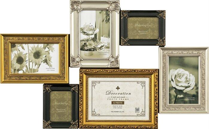 フォトフレーム デコレーション 6ウォール&スタンド フレーム ゴールド ミックス/インテリア 壁掛け 立てかけ 記念 写真 飾り ギフト プレゼント 出産祝い 結婚祝い 写真立て おしゃれ 飾る かわいい Lサイズ