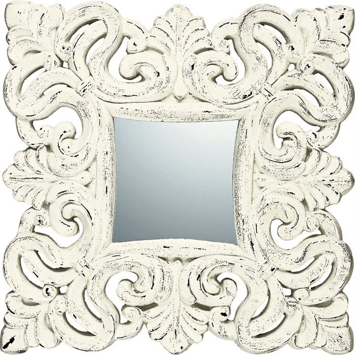 ミラー グレース アート ミラー ノーブル・M (アンティークホワイト)/鏡 壁掛け 卓上 手鏡 鏡台 収納 おしゃれ 飾る 美容 お化粧 顔 インテリア 新築祝い 改築祝い LLサイズ