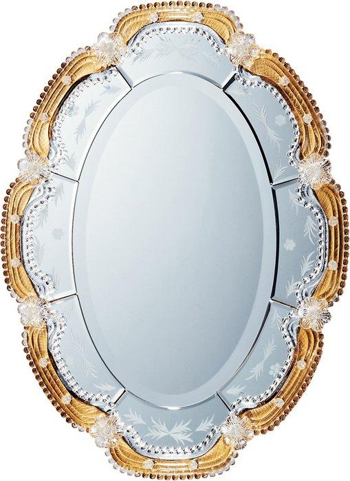 ミラー ムラーノ アート ミラー「オルビア(ゴールド)」/鏡 壁掛け 卓上 手鏡 鏡台 収納 おしゃれ 飾る 美容 お化粧 顔 インテリア 新築祝い 改築祝い LLサイズ 巣ごもり