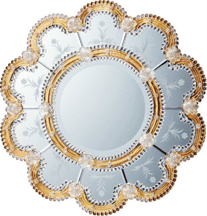 ミラー ムラーノ アート ミラー「スカンディッチ(ゴールド)」/鏡 壁掛け 卓上 手鏡 鏡台 収納 おしゃれ 飾る 美容 お化粧 顔 インテリア 新築祝い 改築祝い LLサイズ 巣ごもり