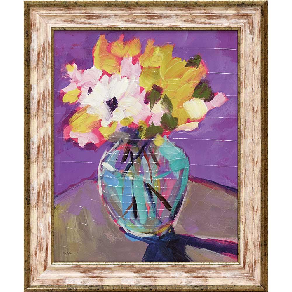 絵画 ソニア ミラー「ブライト フローラル2」/インテリア 壁掛け 額入り 額装込 風景画 油絵 ポスター アート アートパネル リビング 玄関 プレゼント モダン アートフレーム おしゃれ 飾る LLサイズ 巣ごもり