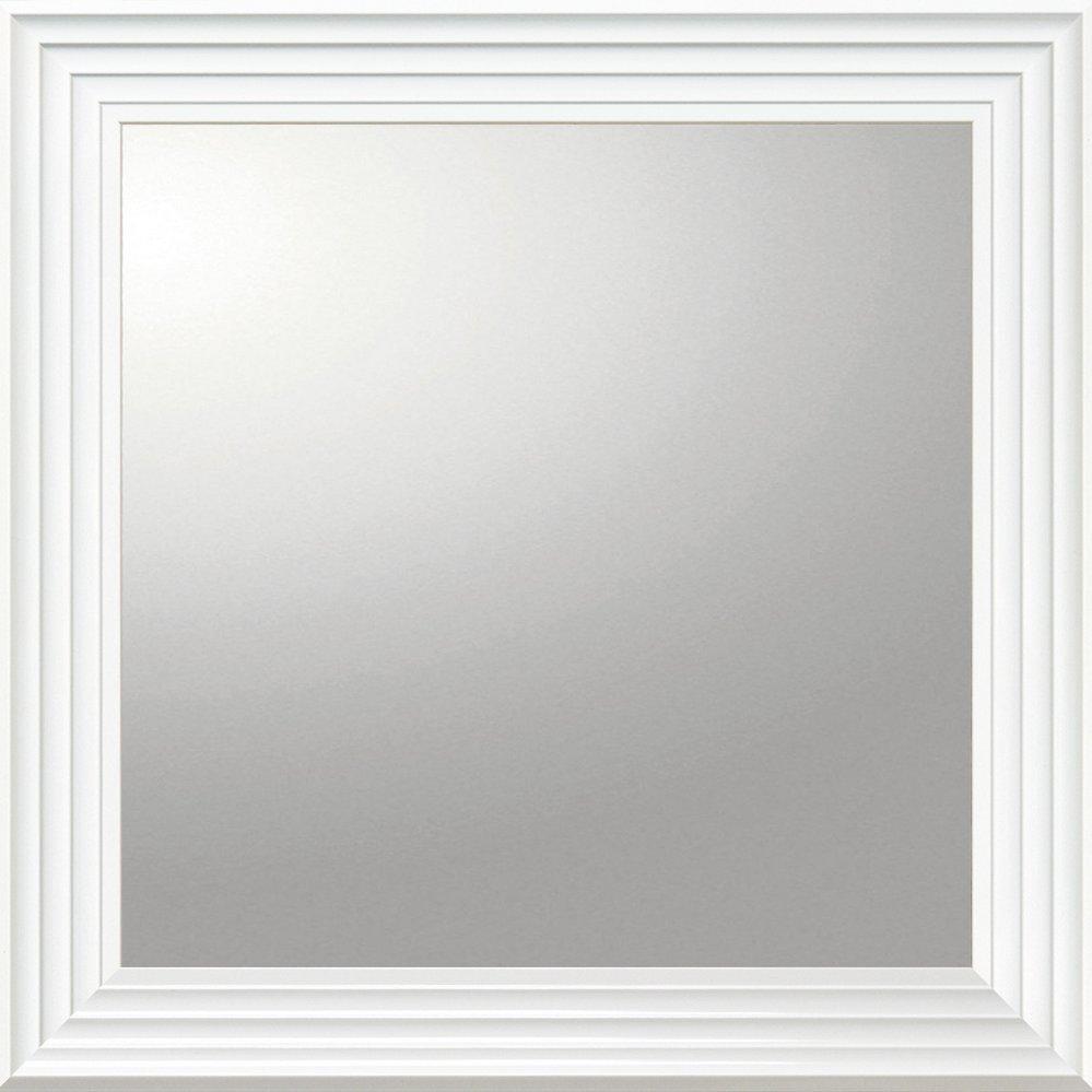 【ミラー】デコラティブ 大型ミラー シャープ「正方形(ホワイト)」/鏡 壁掛け 卓上 手鏡 鏡台 収納 おしゃれ 美容 お化粧 顔 インテリア 新築祝い 改築祝い【L】