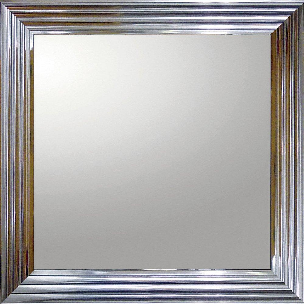 【ミラー】デコラティブ 大型ミラー シャープ「正方形(メタル シルバー)」/鏡 壁掛け 卓上 手鏡 鏡台 収納 おしゃれ 美容 お化粧 顔 インテリア 新築祝い 改築祝い【L】