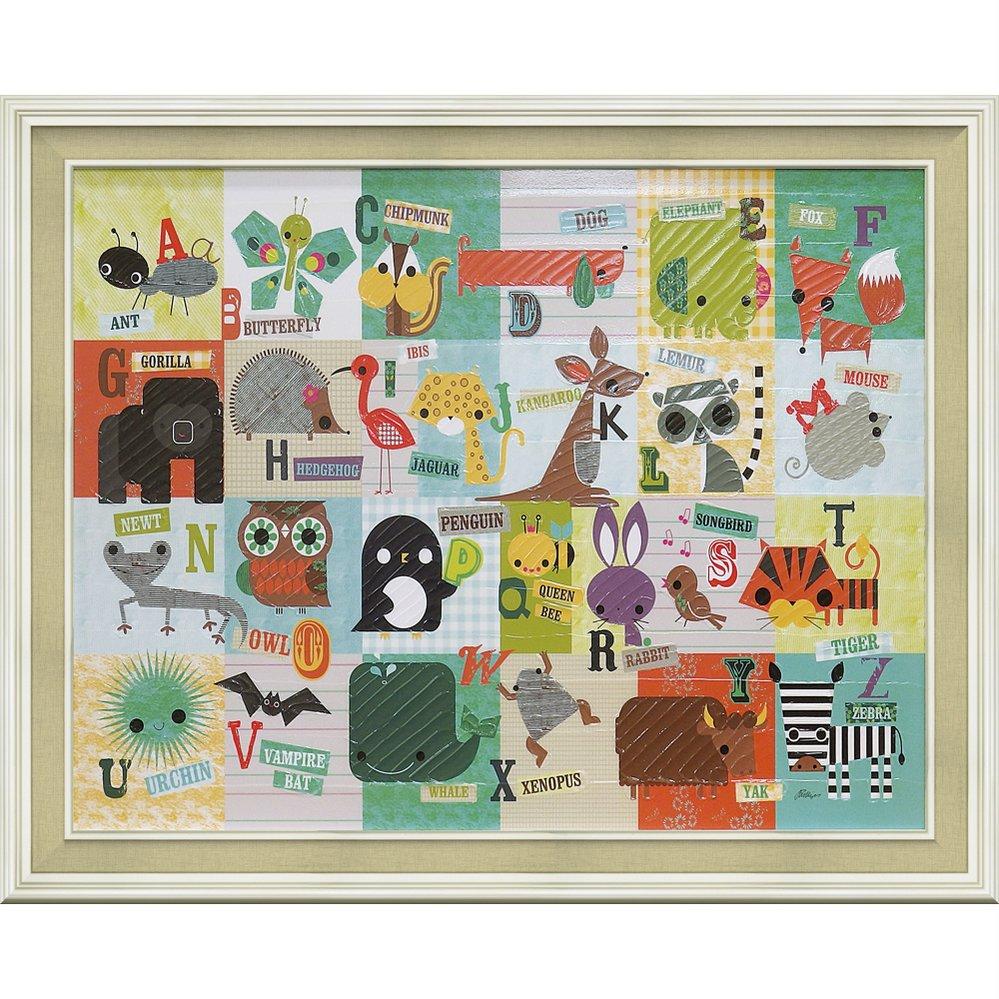 絵画 ジリアン フィリップス「アニマルABC」/インテリア 壁掛け 額入り ゲル加工 出産祝い ベビー キッズ 子供部屋 リビング 玄関 プレゼント 4Lサイズ