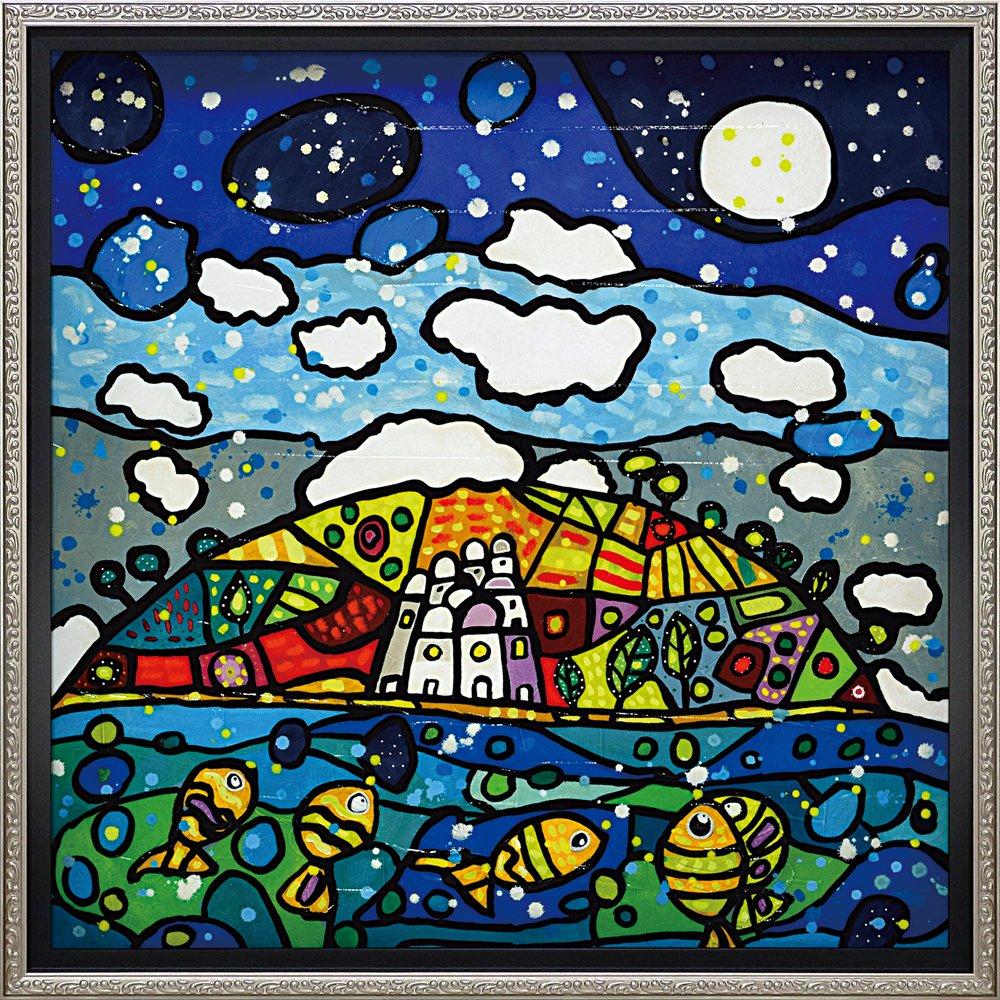 絵画 ウォーラス「イゾラ デイ ソーニ(Lサイズ)」/インテリア 壁掛け 額入り 額装込 風景画 油絵 ポスター アート アートパネル リビング 玄関 プレゼント モダン アートフレーム おしゃれ 飾る Lサイズ 巣ごもり