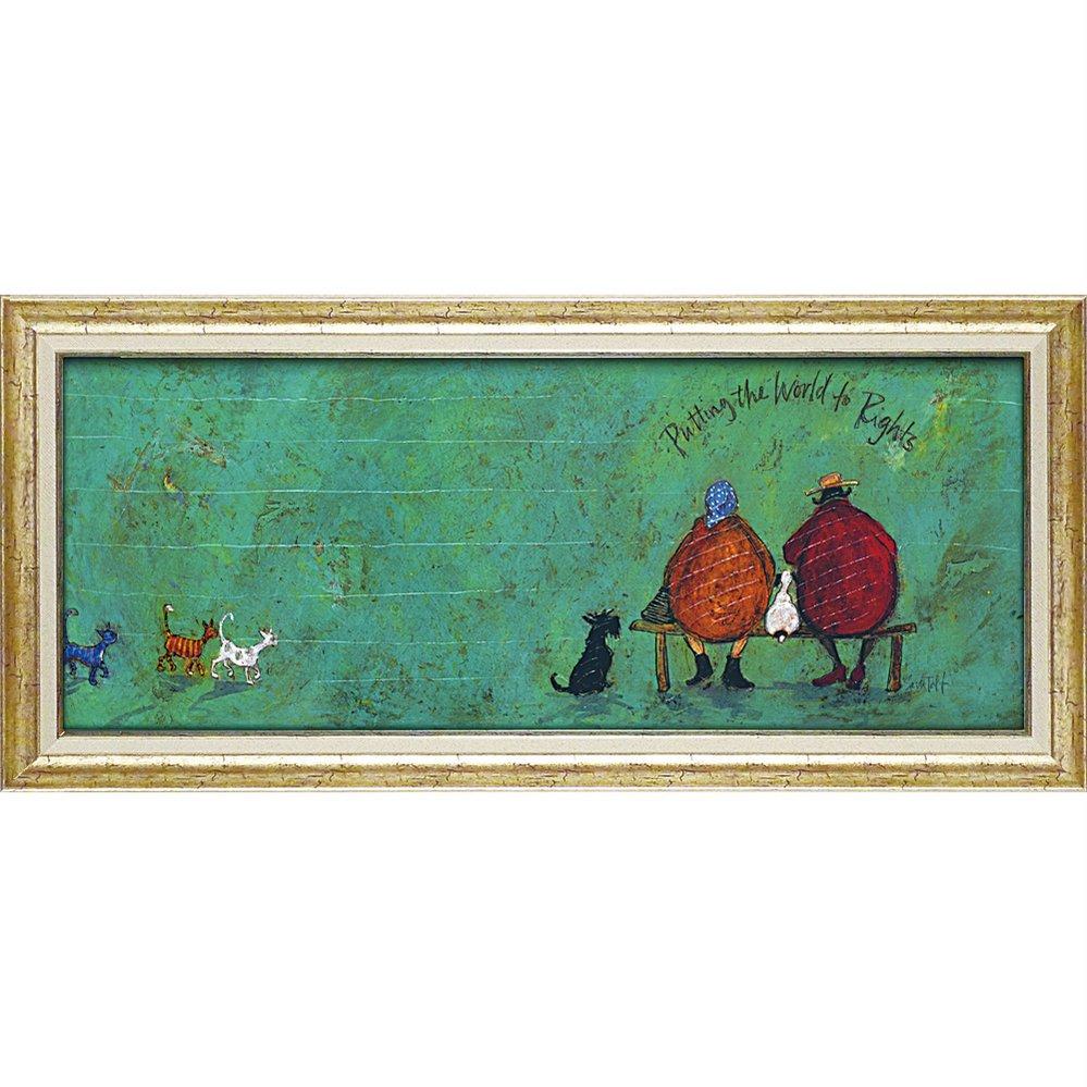 絵画 サム トフト「イヌネコ世界平和評議会」/額入り 絵画 絵 壁掛け アート リビング 玄関 トイレ インテリア かわいい 壁飾り 癒やし プレゼント ギフト アートパネル ポスター 3Lサイズ