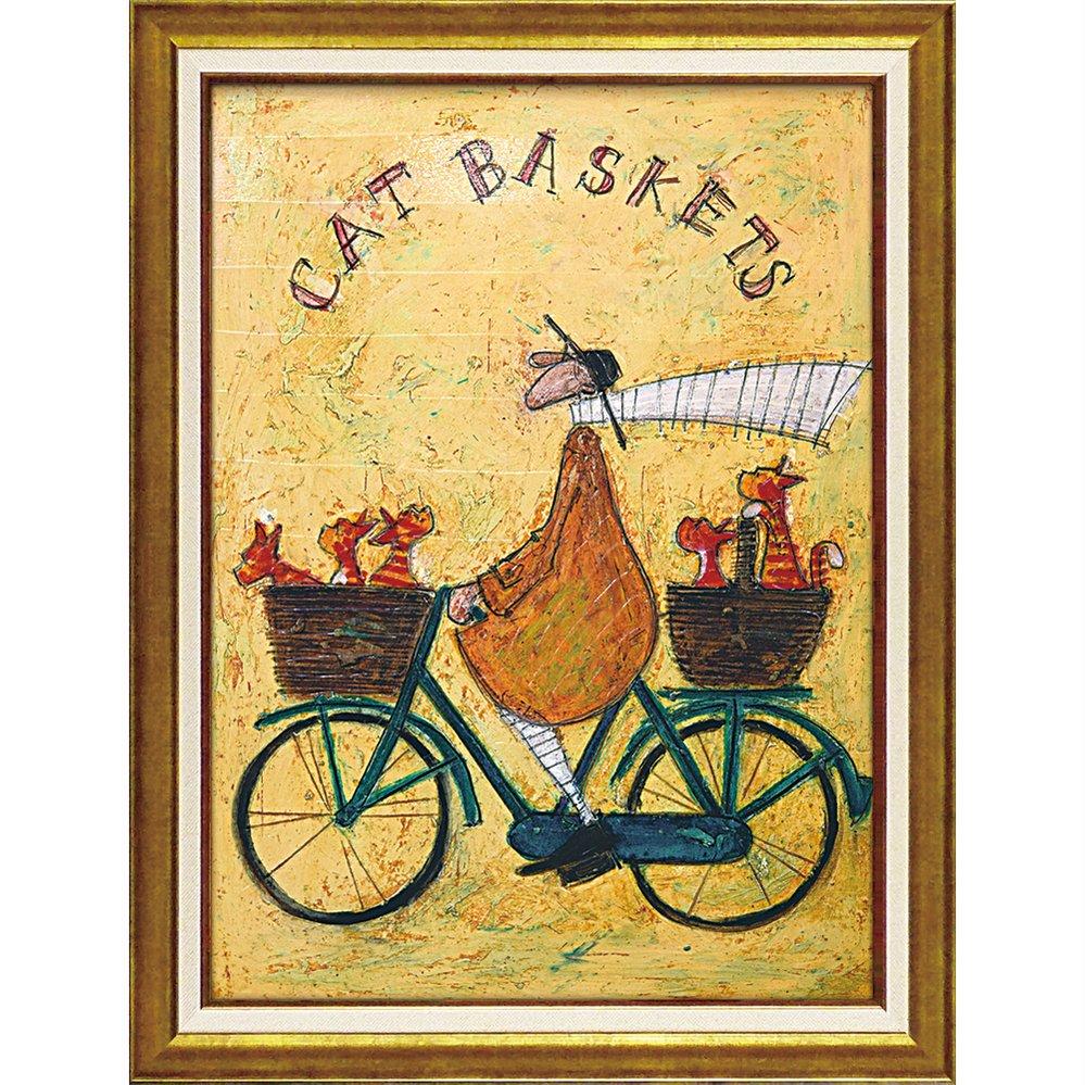 絵画 サム トフト「キャット バスケット」/額入り 絵画 絵 壁掛け アート リビング 玄関 トイレ インテリア かわいい 壁飾り 癒やし プレゼント ギフト アートパネル ポスター 3Lサイズ
