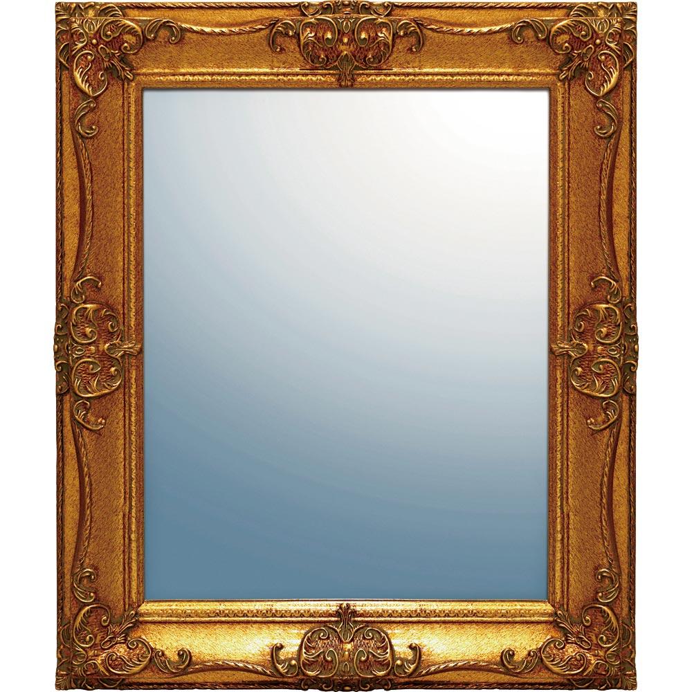 鏡 グレース アート ミラー「アーサーL(アンティークゴールド)」/鏡 壁掛けアンティーク おしゃれ スクエア 四角 メイク 美容 お化粧 顔 インテリア 新築祝い 改築祝い Sサイズ 巣ごもり