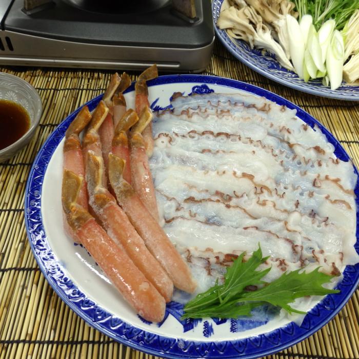北海道産 留萌市 小平町 歴史ある蛸専門店 珍味で有名な 藤田水産 たこ・かにしゃぶセット(8人前) 新鮮で自慢のたこしゃぶとズワイガニのセットです。