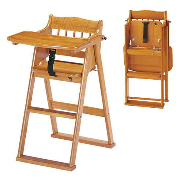 ベビーチェア 折りたたみ式 ハイチェア― テーブル付き 木製 子供 子ども こども 食堂椅子 ダイニングチェア 木製 チャイルドチェア CHC-480(BR) 送料無料 弘益