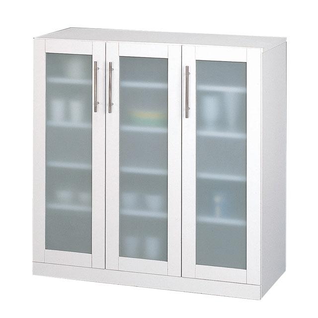 【送料無料】クロシオ カトレア ミストガラス仕様ガラス 食器棚 90-90 23464