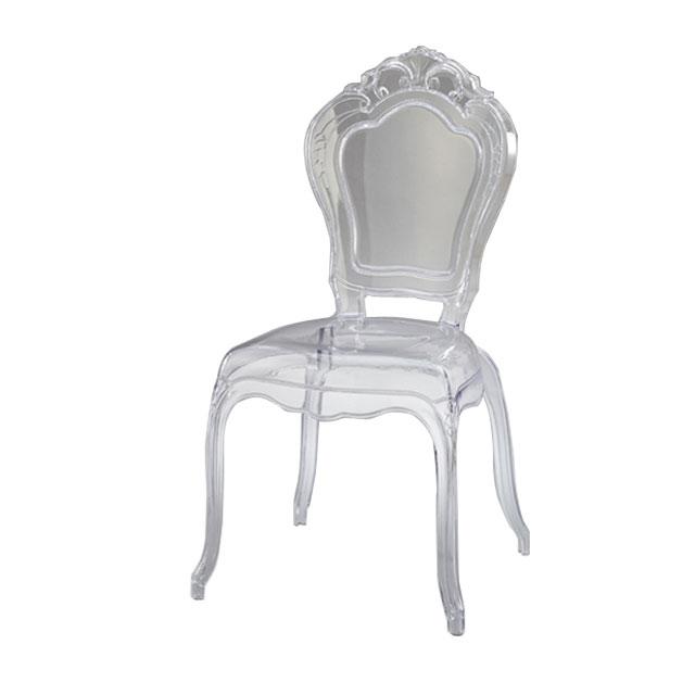 ダイニングチェア 透明 アンティーク調 ロココ調 猫脚 椅子 いす コモ スケルトンチェア 肘なし 34501 送料無料 クロシオ 在宅勤務 テレワーク応援
