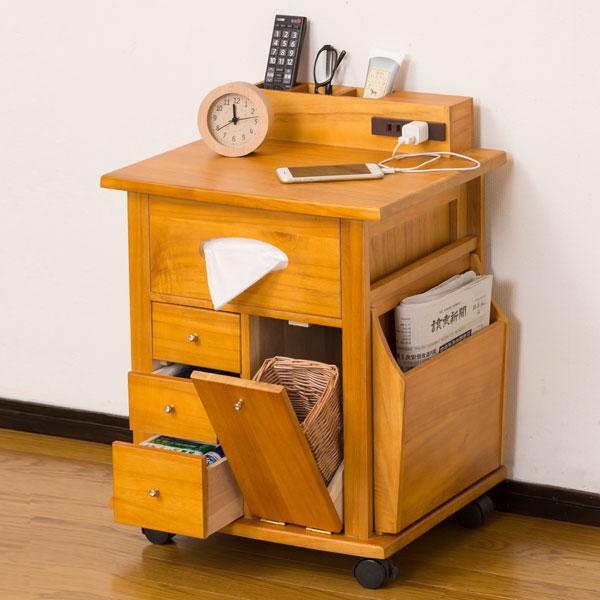 ナイトワゴン 64837 ナイトテーブル 機能的 サイドテーブル ボックスティッシュ収納 ゴミ箱付 北欧 木製 引き出しコンセント付キャスター付き 雑誌 ワゴン マガジンラック 送料無料 クロシオ