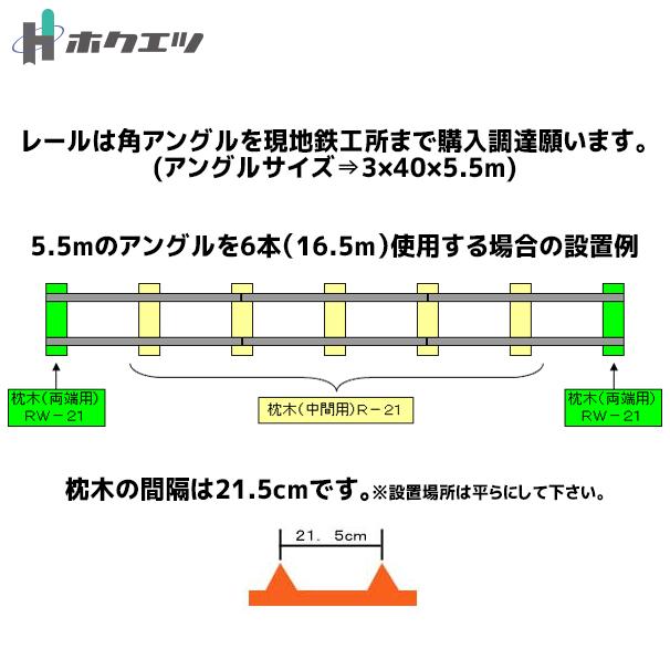 【ホクエツ】トロッコレール用枕木(両端用)RW-21