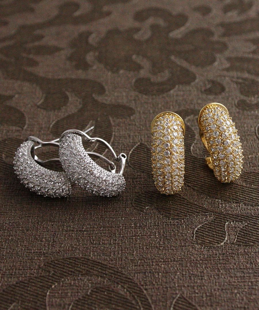 キュービックジルコニアパヴェピアス / earrings (M) / ring pierced earrings / cue BIC zirconia / volume P2-37