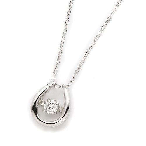 ダイヤモンドジュエリー 18金ホワイトゴールド ダンシングダイヤモンド ネックレス 0.08カラット D10118915W プレゼント ギフト 送料無料
