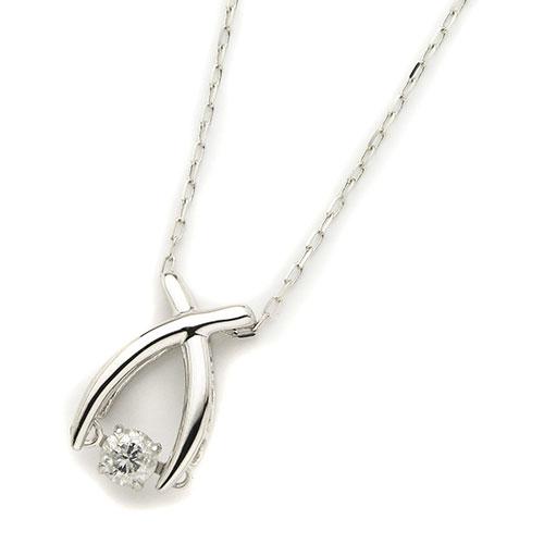 ダイヤモンドジュエリー 18金ホワイトゴールド ダンシングダイヤモンド ネックレス 0.08カラット D10121187W プレゼント ギフト 送料無料