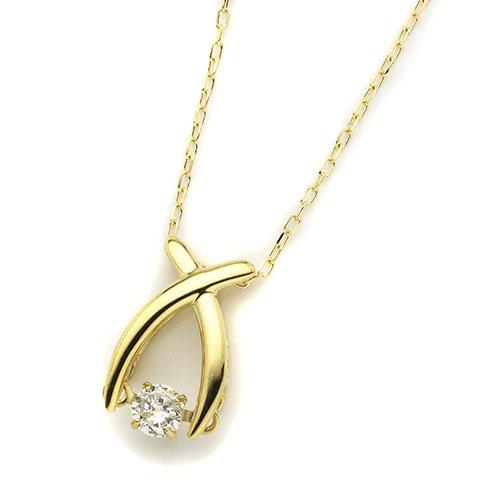 ダイヤモンドジュエリー 18金イエローゴールド ダンシングダイヤモンド ネックレス 0.08カラット D10121189Y プレゼント ギフト 送料無料