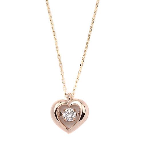 ダイヤモンドジュエリー 18金ピンクゴールド ダンシングダイヤモンド ネックレス 0.08カラット DTFW073PG アクセサリー