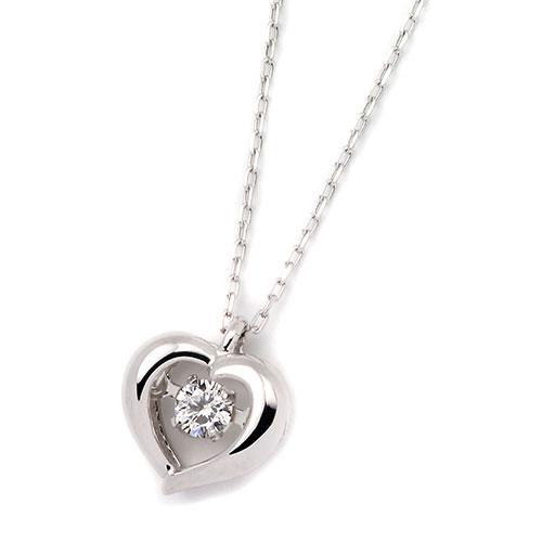 ダイヤモンドジュエリー 18金ホワイトゴールド ダンシングダイヤモンド ネックレス 0.08カラット DTFW073WG プレゼント ギフト 送料無料