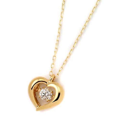 ダイヤモンドジュエリー 18金イエローゴールド ダンシングダイヤモンド ネックレス 0.08カラット DTFW073YG プレゼント ギフト 送料無料