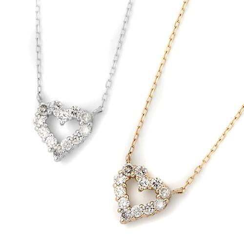 ダイヤモンドジュエリー ネックレス DTP5166PG 18金ピンクゴールド 18金ホワイトゴールド ダイヤモンド 0.2ct ハートモチーフ レディース プレゼント ギフト 送料無料