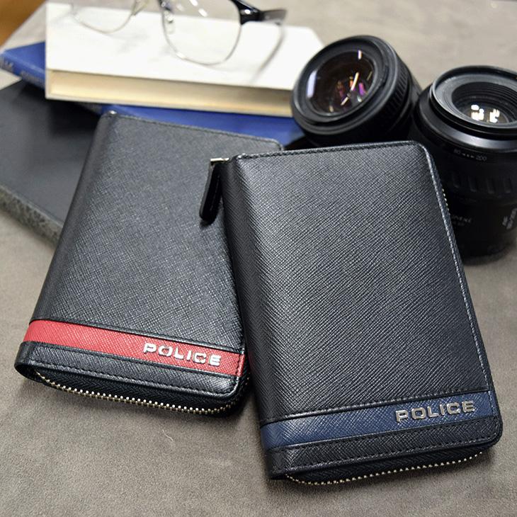 ポリス ラウンド財布 PLICE レザー PLC137 BORDER LINE 短札 メンズ 送料無料