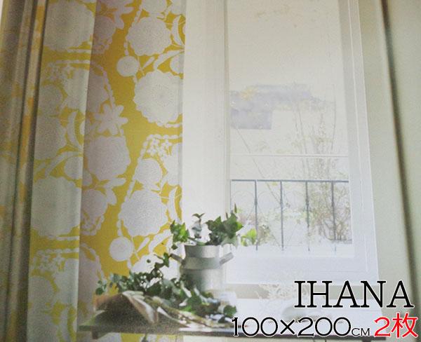 _ スミノエ カーテン イハナ 100×200cm 2枚 デザインライフ 既成カーテン 厚地 北欧 花柄 既成 日本製 激安 洗える ウォッシャブル 遮光 遮光カーテン