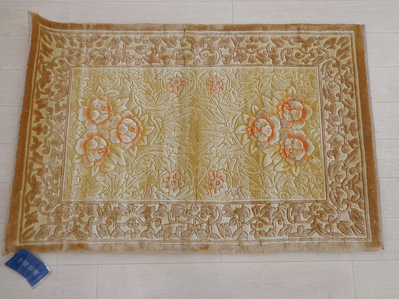 送料無料 シルク100% 中国緞通 61×91cm 玄関マット 手織り シルク 絹 絨毯 シルク アスワン じゅうたん