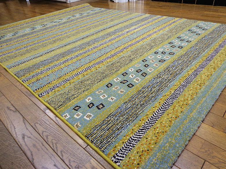 【5,000円引き】ウィルトン ボルダ ラグ カーペット 160×230cm グリーン ベルギー製 絨毯