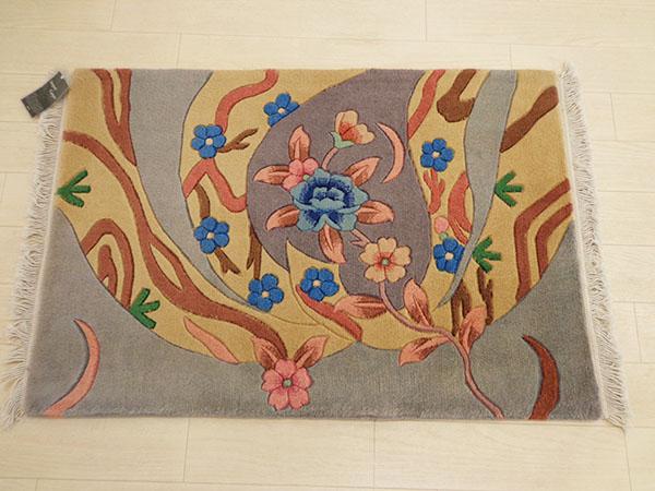 送料無料 中国緞通 桃花源 61×91cm 玄関マット 手織り ウール100% 絨毯 アスワン じゅうたん 緞通 厚い 高級 手織り テンシン90段 フサ付き 60×90 スーパーセール