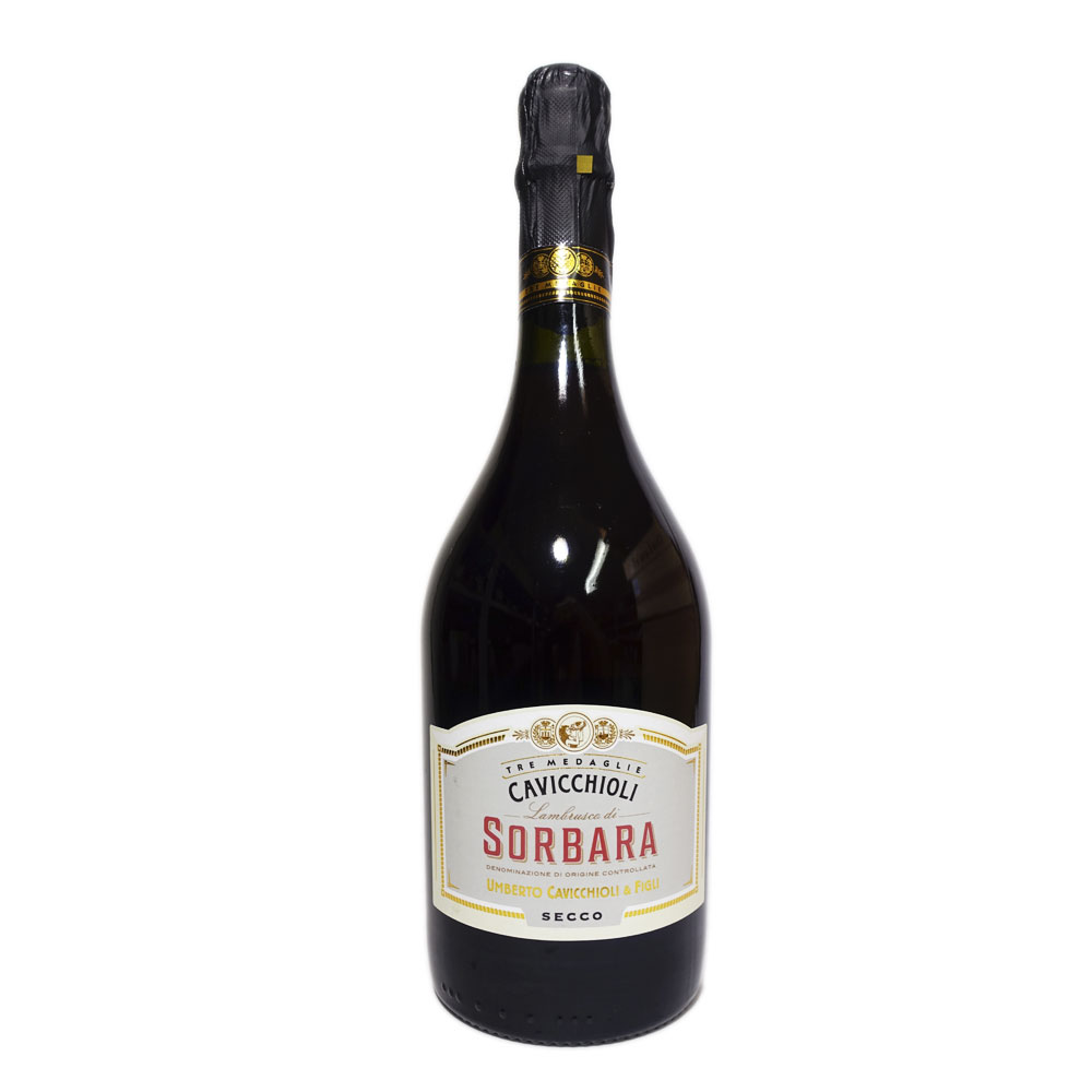 CAVICCHIOLI 信頼 D.O.C SORBARA SECCO イタリア 新作続 イタリアンワイン 赤 辛口 セッコ750ml 赤ワイン カビッキオーリランブルスコ イタリアワイン ソルバーラ ロッソ 微発泡ワイン