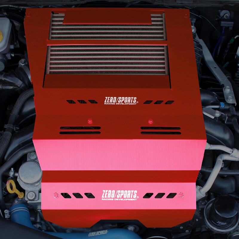 吸入空気温度の低下を促進。理想の燃焼環境に近づけ、本来のエンジン性能を引き出すだす。 ZERO/SPORTS ゼロスポーツ WRX S4 (VAG) クールアクションII レッドモデル 品番:0306047