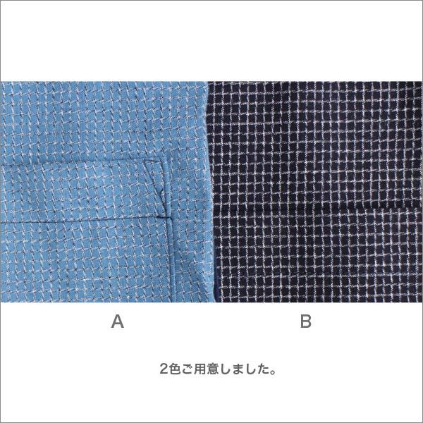 久留米織りスモックブラウスレディース春夏秋用綿前開きグレー/ネイビーM-L