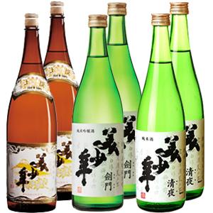 美少年 純米吟醸 剣門1.8L 2本・純米酒 清夜1.8L 2本・上撰酒1.8L 2本【合計6本】【お取り寄せで10日ほどかかります】
