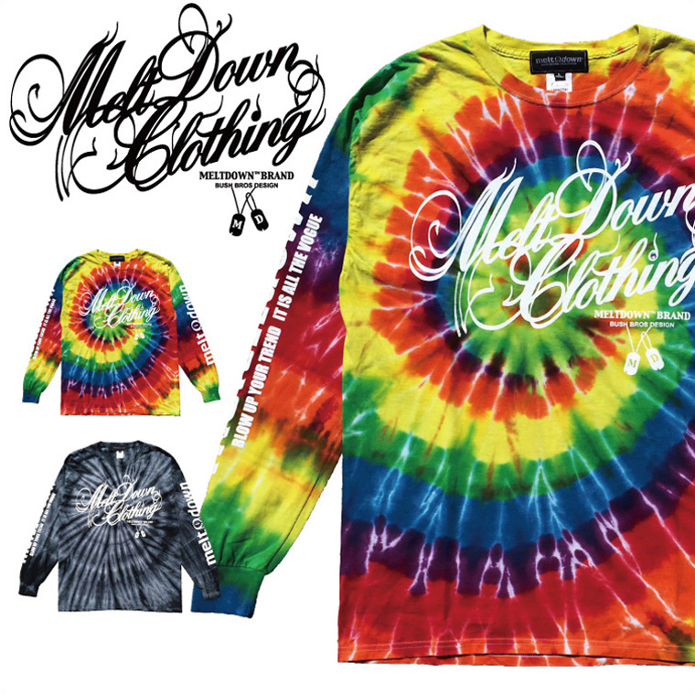 MELTDOWN(メルトダウン) 長袖Tシャツ SCRIPT TIE DYE L/S TEE(MD17FW-LS01) メンズ ファッション ヒップホップ ダンス B系 ストリート系 通販 スクリプトロゴ タイダイ