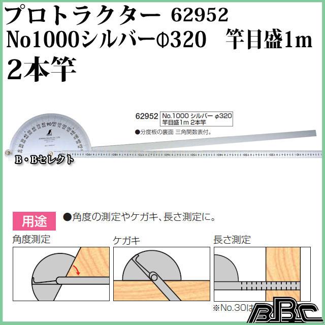 【送料無料】'【シンワ測定】プロトラクターNo1000 シルバーΦ320竿目盛1m 2本竿 62952