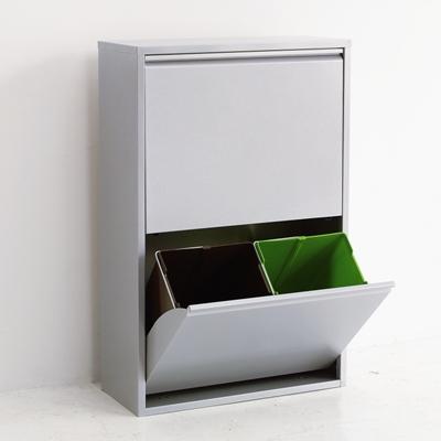 4リサイクルビン アスプルンド ASPLUND 011233 アルミ ホワイト ゴミ箱 分別 スリム キッチン 4分割 2段 おしゃれ 【送料無料】