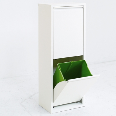 2リサイクルビン アスプルンド ASPLUND 011264 ゴミ箱 ホワイト アルミ 分別 スリム すっきり キッチン シンプル 2段 2分割 【送料無料】