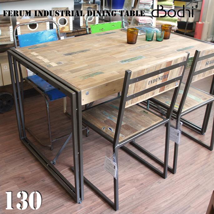 送料無料 テーブル フェルム インダストリアル ダイニングテーブル 1300 FERUM INDUSTRIAL DINING TABLE 1300 110875 ディーボディ d-Bodhi 家族 4人用 6人用 机 デスク 木製 チーク 無垢 アイアン table