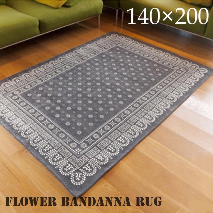 flower bandanna rug(フラワーバンダナ ラグ) 200×140cm 2715L 送料無料 デザインインテリア