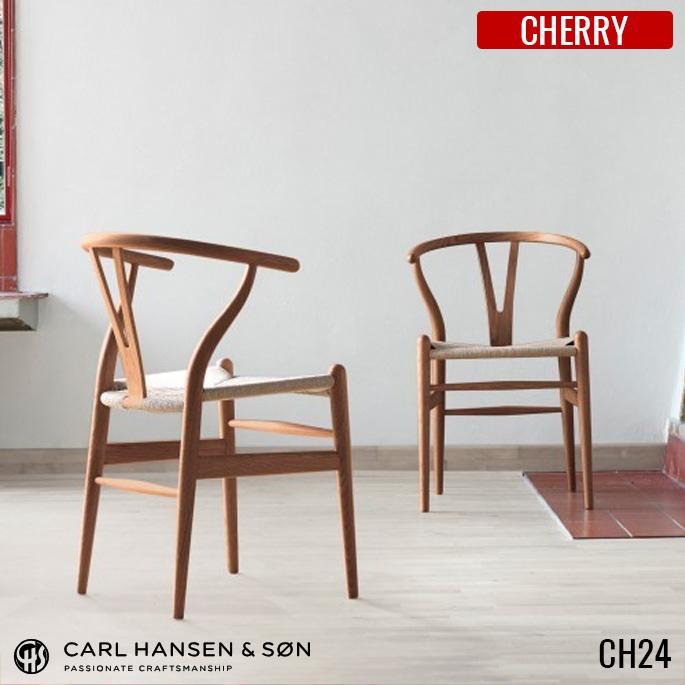 チェア CH24 Yチェア ウィッシュボーンチェア WISHBONECHAIR カールハンセン CARL HANSEN&SON ハンス・J・ウェグナー チェリー デザイナーズチェア 北欧 正規品 ラッカー オイル ダイニングチェア 椅子 木製 【送料無料】