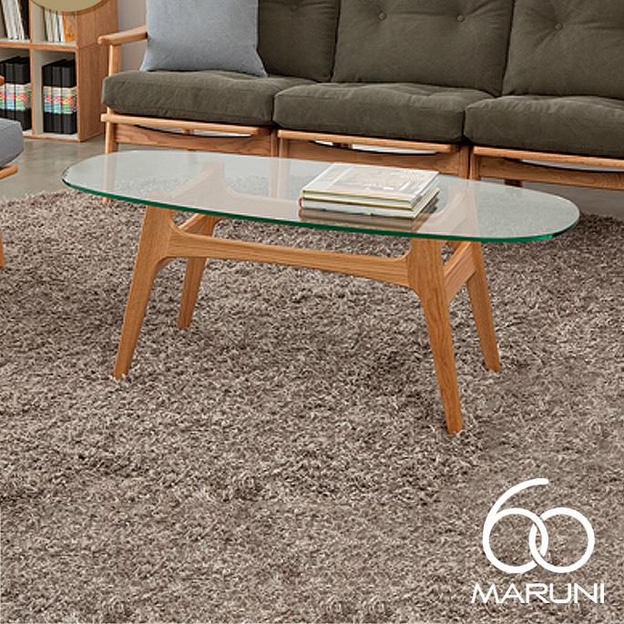 オークフレームコーヒーテーブル ガラストップ(Oak Frame Coffee Table Glass top) ナチュラル(Natural)・ブラック(Black) マルニ60(MARUNI60) ロクマルビジョン(60VISION) ナガオカケンメイ